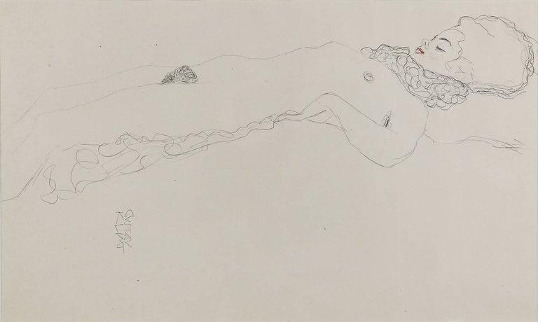 Gustav Klimt Figurative Print - Reclining Nude