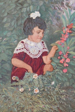 "Oil Painting on Canvas ""A Little Girl with Flowers in a Garden"", 1952"