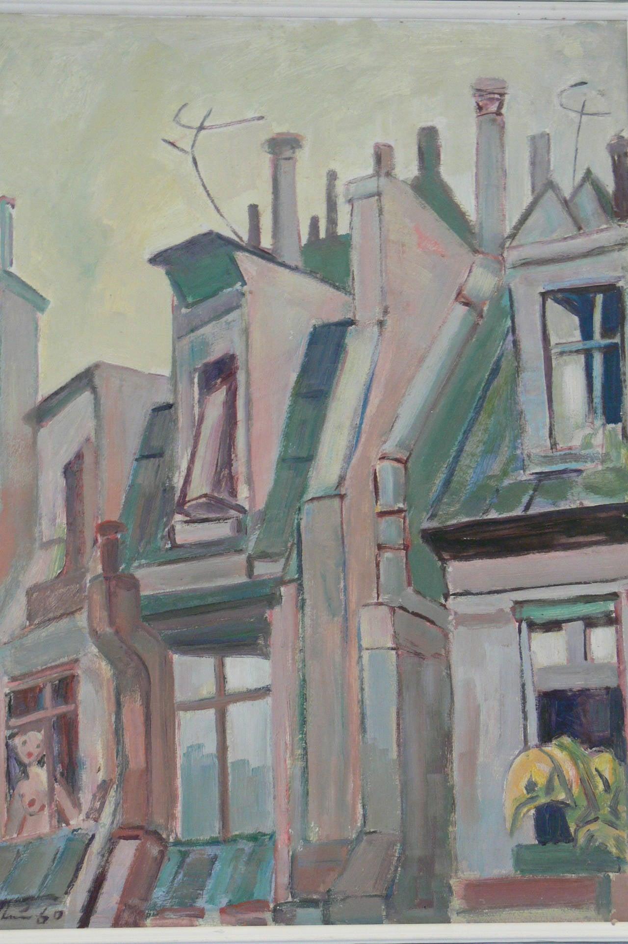 """Walter Wellenstein Oil on Board """"Pariser Dächer"""" ( Roofs in Paris ), 1960"""