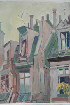 "Walter Wellenstein Oil on Board ""Pariser Dächer"" ( Roofs in Paris ), 1960"