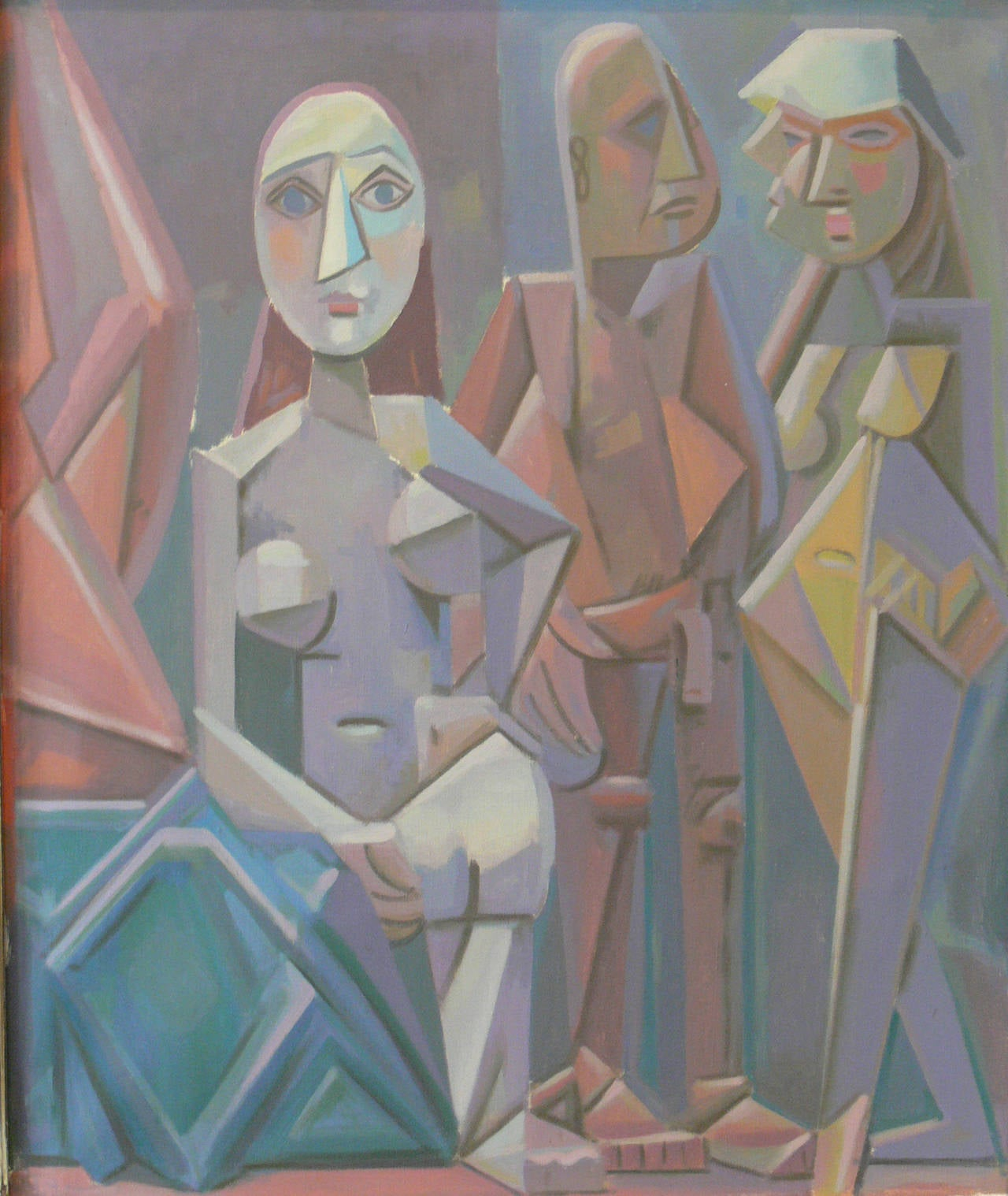 "Werner Reifarth Oil Paint on Canvas ""Obskure Gesellschaft"", ca. 1948"