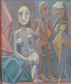 "Werner Reifarth Oil Paint on Canvas ""Obskure Gesellschaft"", ca. 1948"