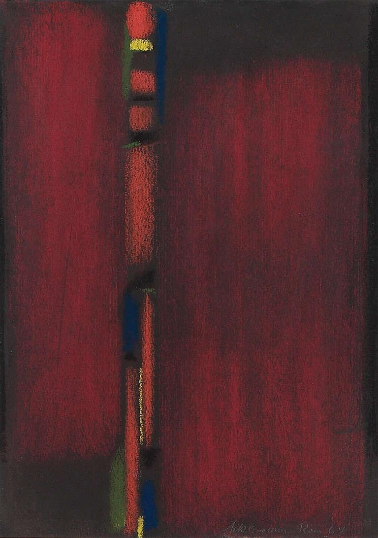 Max Ackermann Pastel Untitled, 1964 - Modern Painting by Max Ackermann
