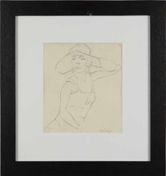 "Rudolf Ausleger Drawing ""Dame mit Hut"" ( Lady with Hat )"