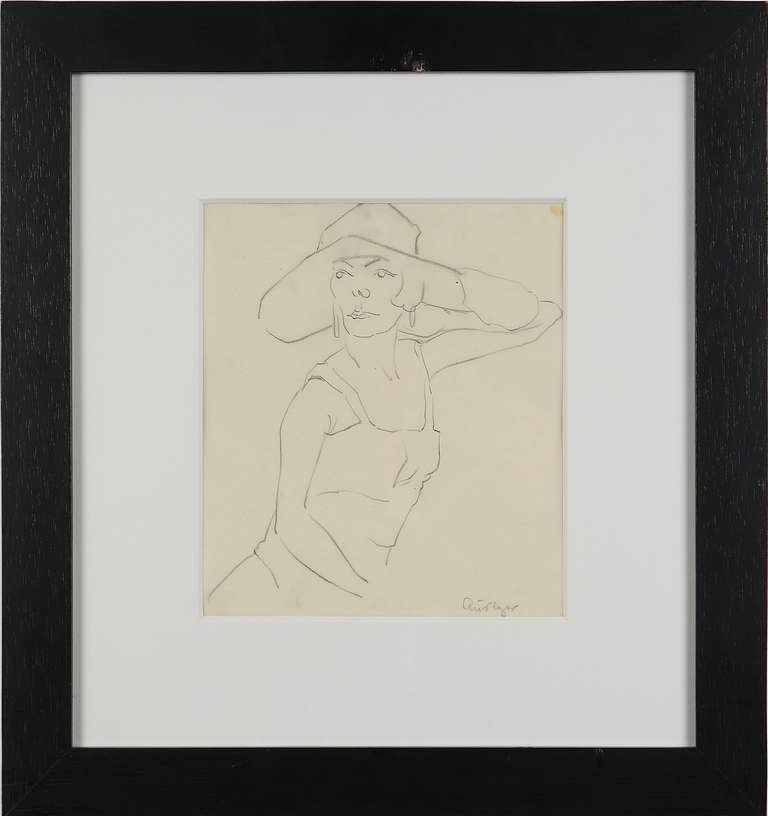 """Rudolf Ausleger Drawing """"Dame mit Hut"""" ( Lady with Hat ) 1"""