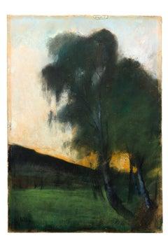 """Lesser Ury Pastel """"Landschaft mit Weißbirken"""" ( Landscape with birch trees)"""