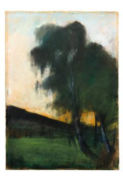 "Lesser Ury Pastel ""Landscap with birch trees"""