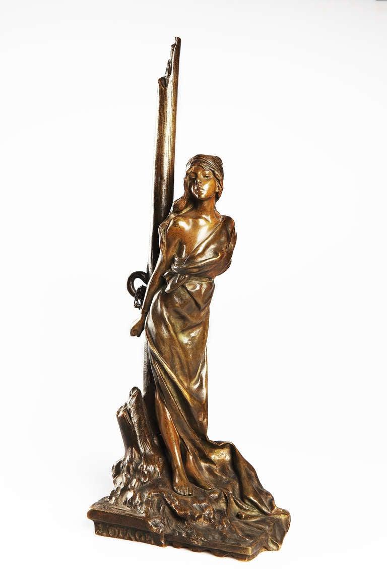 """Emmanuel Villanis Art Nouveau Bronze Sculpture """"L' Otage"""" ( Hostage ) - Gold Figurative Sculpture by Emmanuel Villanis"""