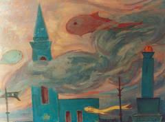 """Walter Wellenstein Oil Painting """"Traum"""" ( Dream ), 1957"""