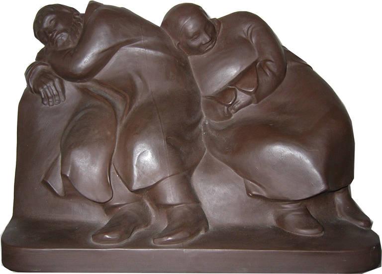 "Ernst Barlach Sculpture ""Schlaffende Vagabunden"" ( Sleeping Drifters ), 1912  - Black Figurative Sculpture by Ernst Barlach"