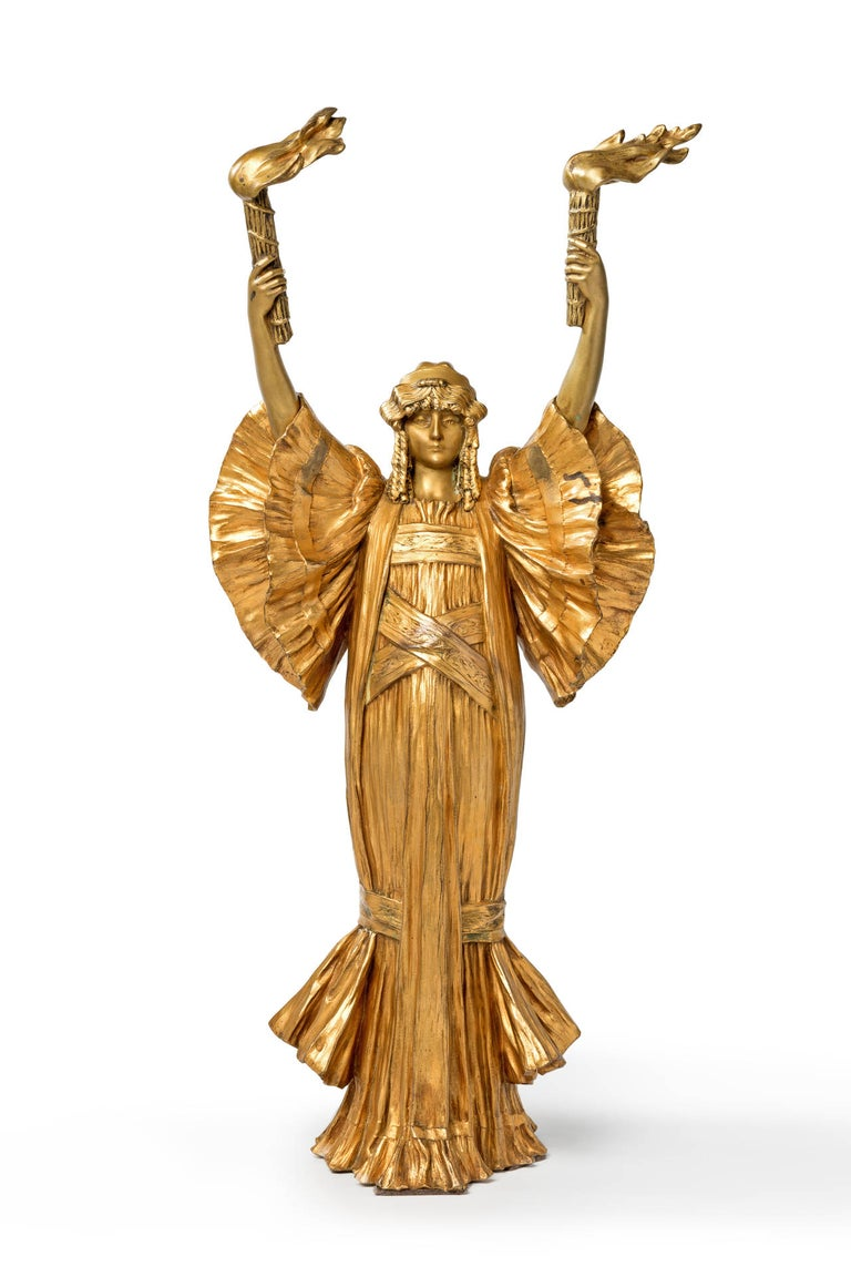 Awesome Art Nouveau sculpture by Agathon Léonard ( Lille 1841-1923 Paris ). Gilded bronze, circa 1900. Signed on the back: A Léonard sclp and foundry stamp Susse Fréres. Height: 24.02 in ( 61 cm ), Width: 10.83 in ( 27,5 cm ), Depth: 7.09 in ( 18