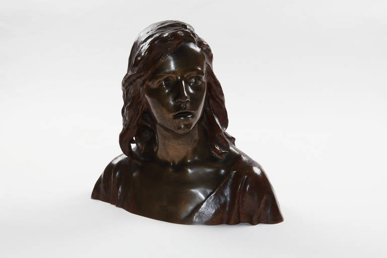 Art Nouveau bronze ca. 1900 by Raoul Larche ( 1860-1912 ), France ca. 1900. Patinated. Signed at the side: Raoul Larche. Numbered. Height: 14.96 in ( 38 cm )