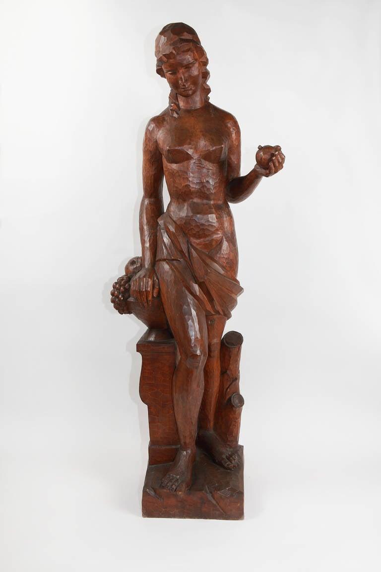 """Joseph Wackerle Wood Sculpture """"Flora"""", 1920 - Brown Nude Sculpture by Joseph Wackerle"""