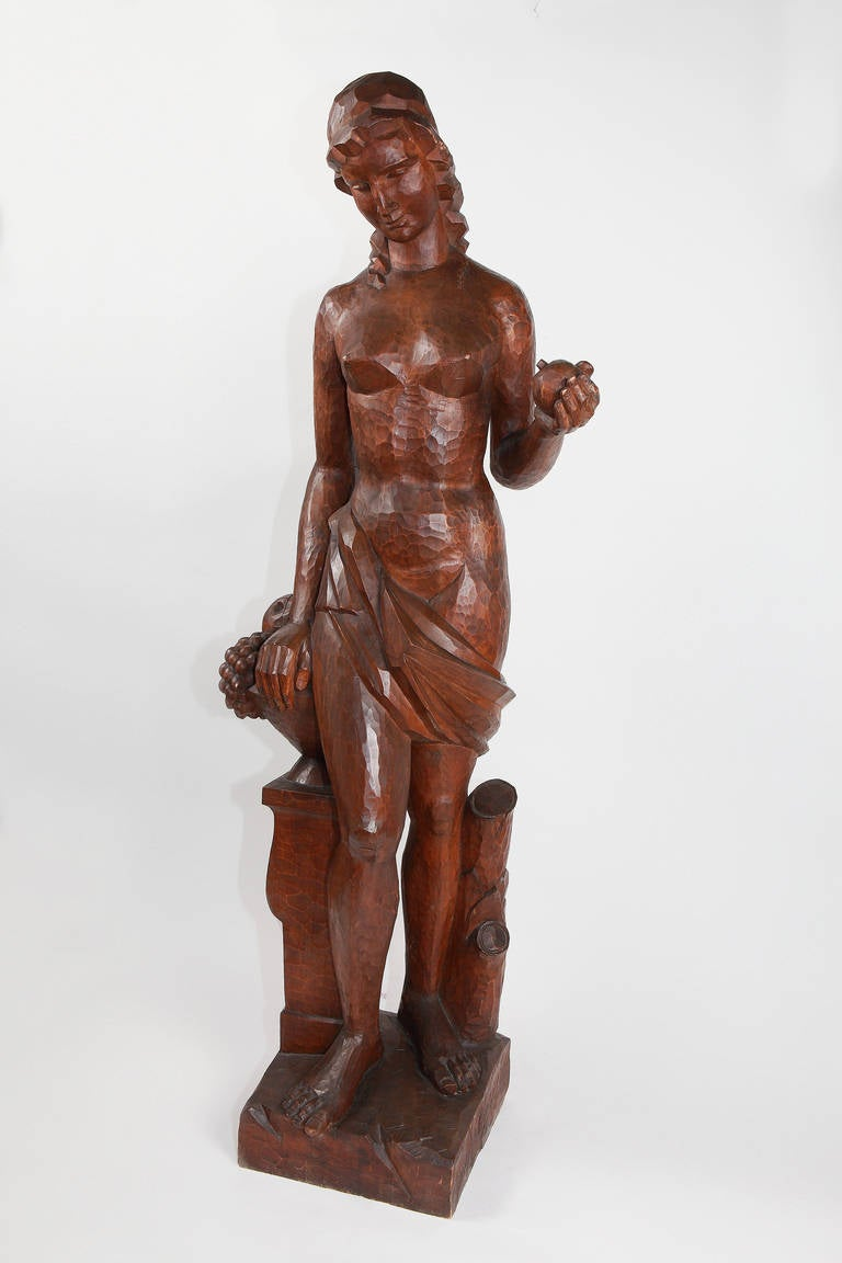 An impressiv sculpture by Joseph Wackerle ( 1880-1959 ). One of a kind from 1920, Germany. Wood, carved.  Height: 59.06 in ( 150 cm ), Width: 12.6 in ( 32 cm ), Depth: 12.6 in ( 32 cm )