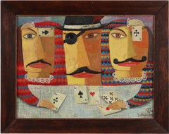 "Oil Painting ""Kartenspieler"" ( Card Player ) by Zaza Tuschmalischvili, 1998"