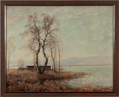"Otto Eduard Pippel Oil Paint ""Vorfruehling am Chiemsee. Auf der Fraueninsel"""