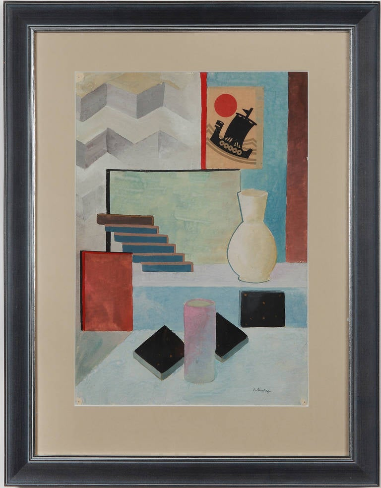 Tempera and collage by Rudolf Ausleger, Germany 1923. Signed lower right: R. Ausleger. Framed. Height: 14.17 in ( 36 cm ), Width: 9.92 in ( 25,2 cm )