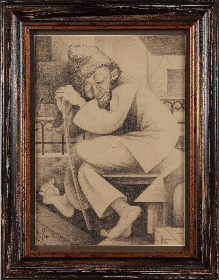 Pencil on wove paper, 1946 by Hans Brass ( 1885-1959 ), Germany. Monogrammed and dated lower left: HB 1946. Framed Measurements: 19.29 x 13.58 in ( 49,0 x 34,5 cm )