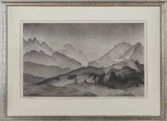 "Lithograph ""Bergwelt / Wetterstein"" by Alexander Kanoldt, 1937"