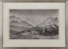 "Lithograph ""Bergwelt / Wetterstein"" by Alexander Kanold, 1937"
