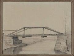 """Hölzerne Hängebrücke über einen Fluss"" ( Plank Bridge Across The River ), 1925"