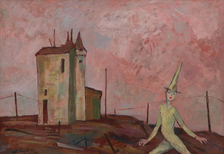 Oil on cardboard, 1960 by Walter Wellenstein ( Dortmund 1898-1970 Berlin ),  Signed and dated lower left: Wellenstein 60. Framed. Height: 27.56 in ( 70 cm ), Width: 39.37 in ( 100 cm ) Provenance: Son of the artist