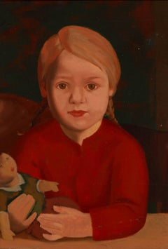 "Kurt Schütze Oil Painting ""Child With Doll"", ca. 1928"