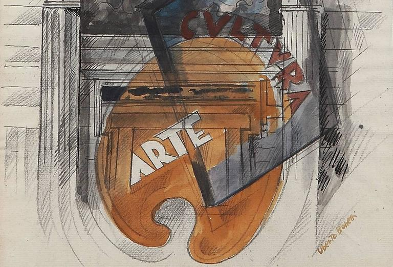 Watercolor, ink and graphite on paper, 1934-1935 by Uberto Bonetti, Italy. Signed lower right: Uberto Bonetti. Framed. 11.61 x 9.06 in ( 29,5 x 23 cm )
