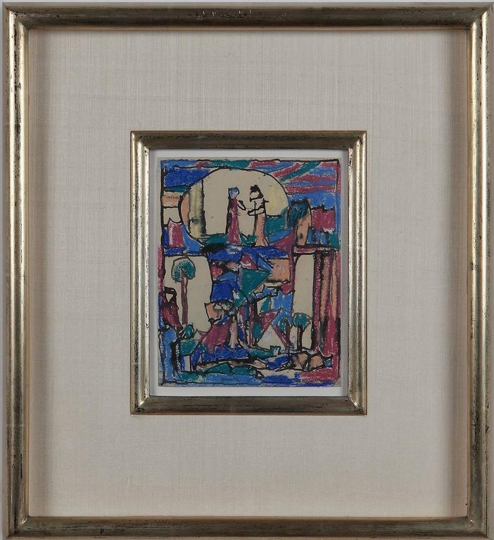 Liebespaar in Mondlandschaft ( Lovers in a moonscape ) by Adolf Hölzel, 1925 For Sale 1