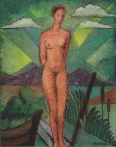 """Nude at the Lake"" Tempera on Cardboard by Karl Godeg"