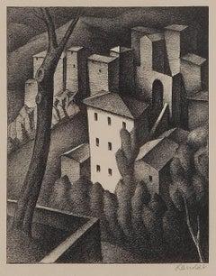 """Alexander Kanoldt Lithograph """" Olevano V """", 1925"""