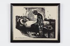 Besuch im Krankenhaus ( Hospital Visit ) Woodcut 1929 by Käthe Kollwitz