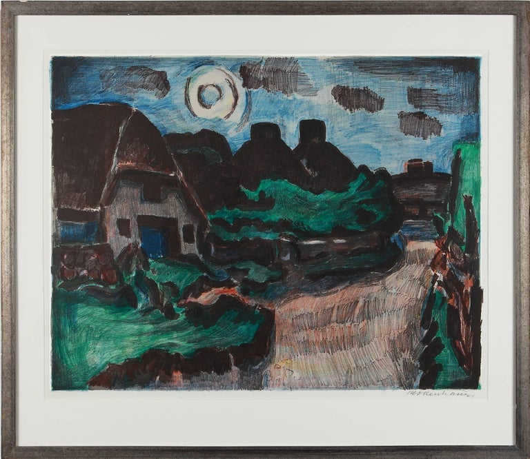 Lithograph in colors, 1957 by Ernst Mollenhauer ( 1892-1963 ), Germany. Signed lower right: Mollenhauer. Under glass in a silvered wooden frame. Sheet size: 18.9 x 24.21 in ( 48 x 61,5 cm )