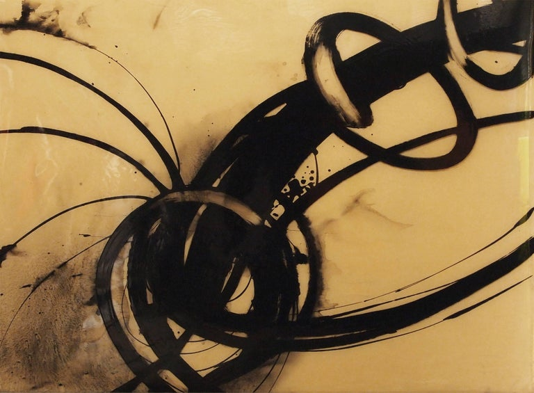 """Quim Bove Abstract Painting - """"Black Vortex"""""""