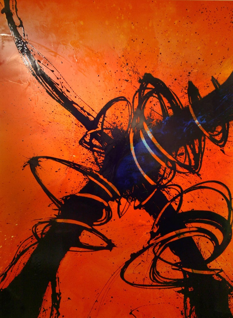 """Quim Bove Abstract Painting - """"Bold Orange Confluence"""""""