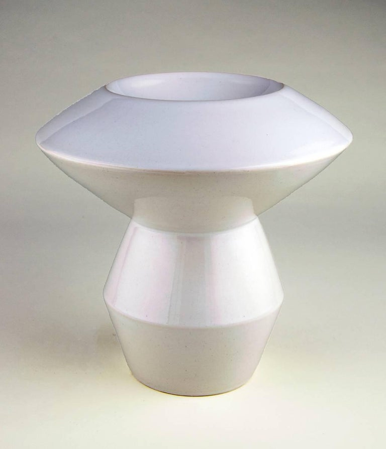 """Eric Boos Abstract Sculpture - """"White Geometric Bowl"""""""