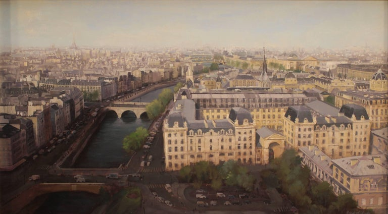 "Brad Aldridge Landscape Painting - ""April in Paris (view from Notre Dame Cathedral)"""
