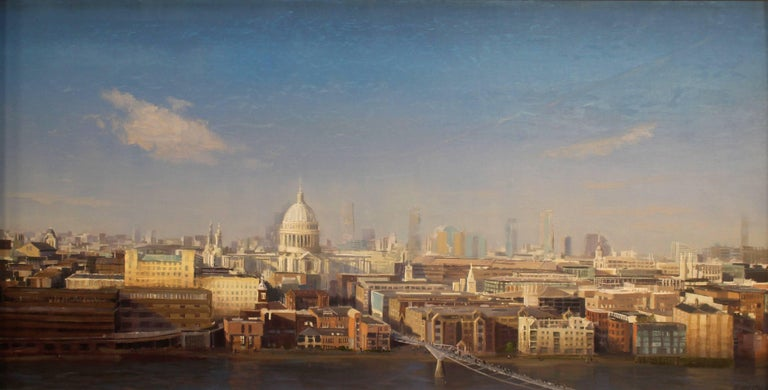 """Brad Aldridge Landscape Painting - """"St. Paul's Cathedral, London (view from Tate Museum)"""""""