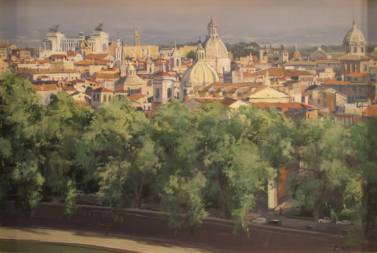 """Brad Aldridge Landscape Painting - """"A Walk by the Tiber (view of Rome from Castel Sant' Angelo"""""""