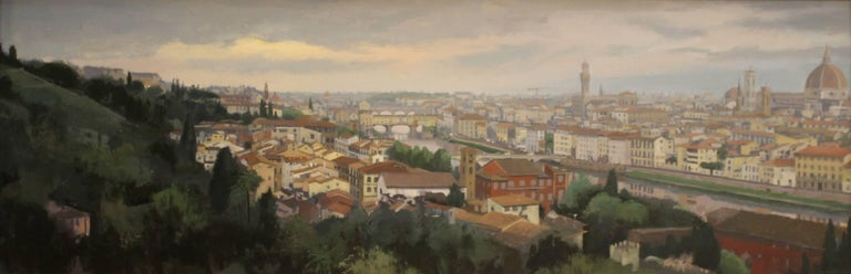 """Brad Aldridge Landscape Painting - """"The Arno at Dawn, Florence Italy (view from Piazzale Michalangelo)"""