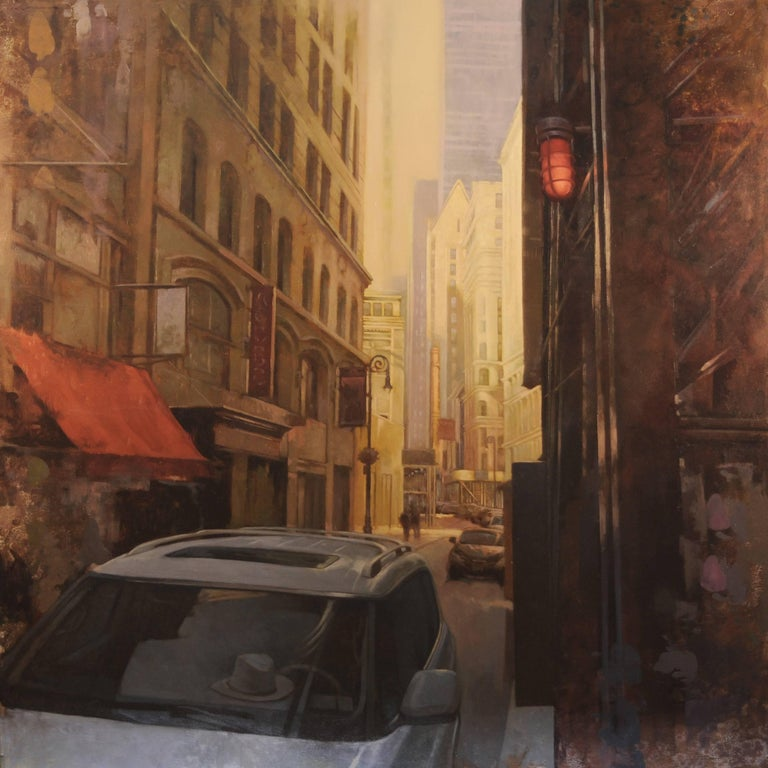 "Joseph Lorusso Figurative Painting - ""Morning Light in Lower Manhattan"""