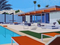 """Palm Springs House with Orange Loungers"""