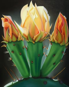 """""""Trifecta, Prickly Pear Bloom and Buds"""""""