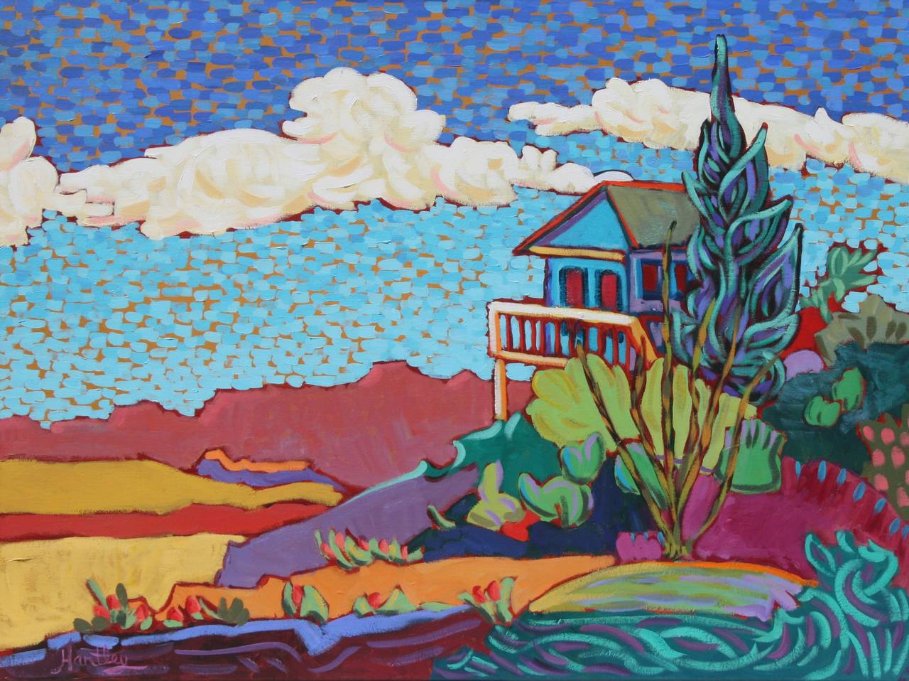 Claudia Hartley Blue House Painting For Sale At 1stdibs