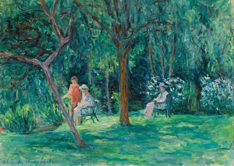 Blanche Hoschedé-Monet Landscape Painting - Dans le Jardin à Sorel-Moussel