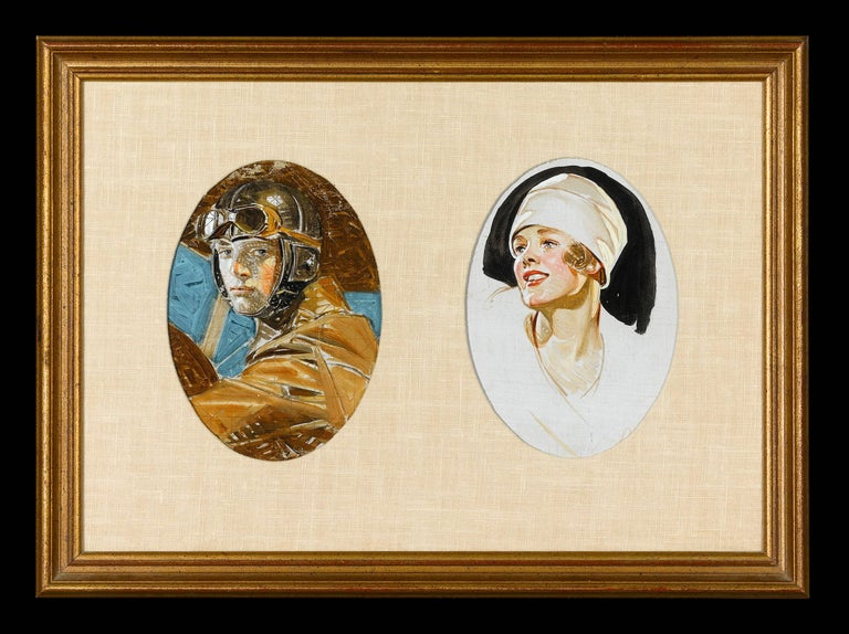 Joseph Christian Leyendecker Portrait Painting - Aviator and Woman in a White Hat by J.C. Leyendecker