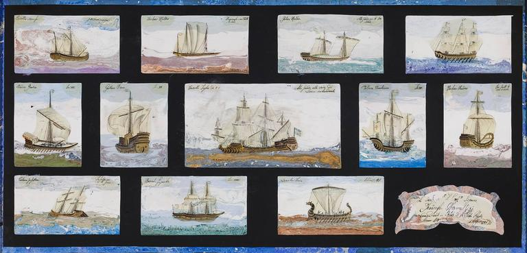Scagliola on Slate of Mediterranean Warships