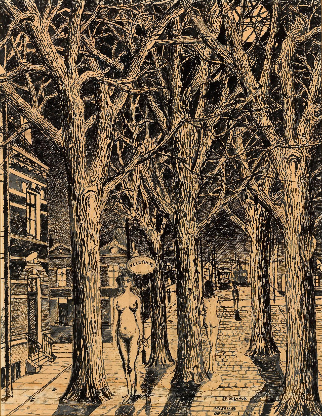 Paul delvaux les belles de nuit painting at 1stdibs for Paul delvaux le miroir