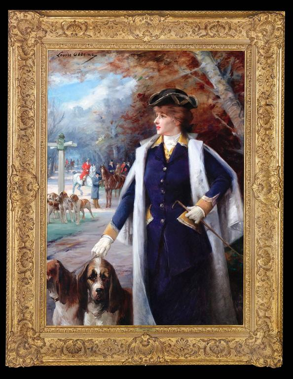 Sarah Bernhardt Hunting with Hounds  - Painting by Louise Abbema