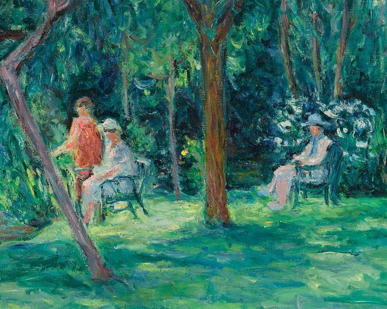 Dans le Jardin à Sorel-Moussel  - Impressionist Painting by Blanche Hoschedé-Monet